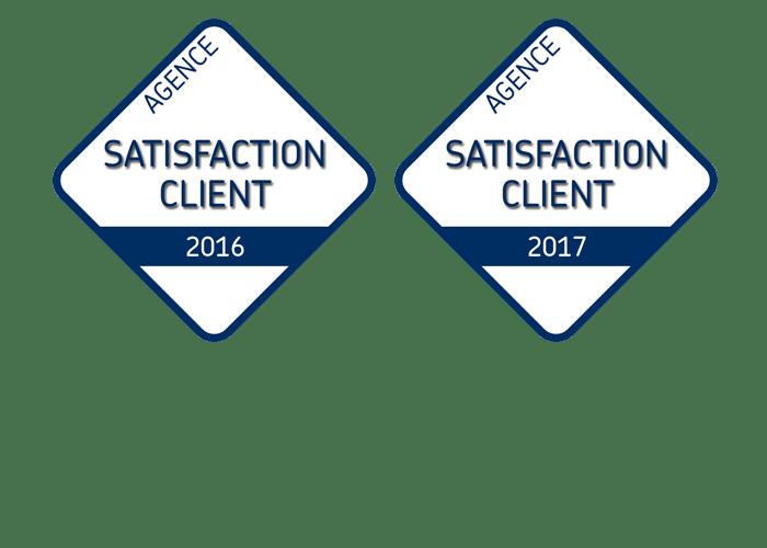 Logos satisfaction client pour l'agence Via Capitale du Mont-Royal en 2016 et 2017