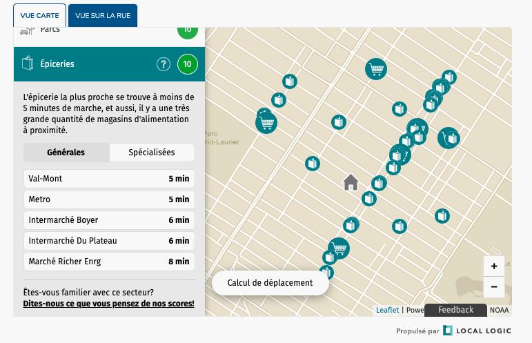 Carte de l'application Local Logic représentant les épiceries à proximité d'un endroit désigné