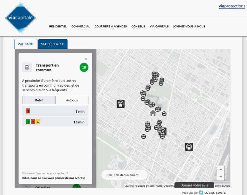 Carte de l'application Local Logic représentant la proximité du transport en commun d'un endroit choisi