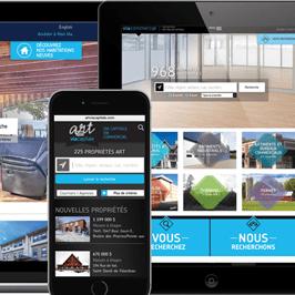 Site web de l'agence immobilière Via Capitale du Mont-Royal sur différents supports numériques